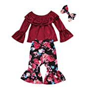 Kids Baby Girls Lace T Shirt+Flower Pants Bellbottoms 3pcs Outfits Set Cotton Pullovers Clothing (12-18 Months)
