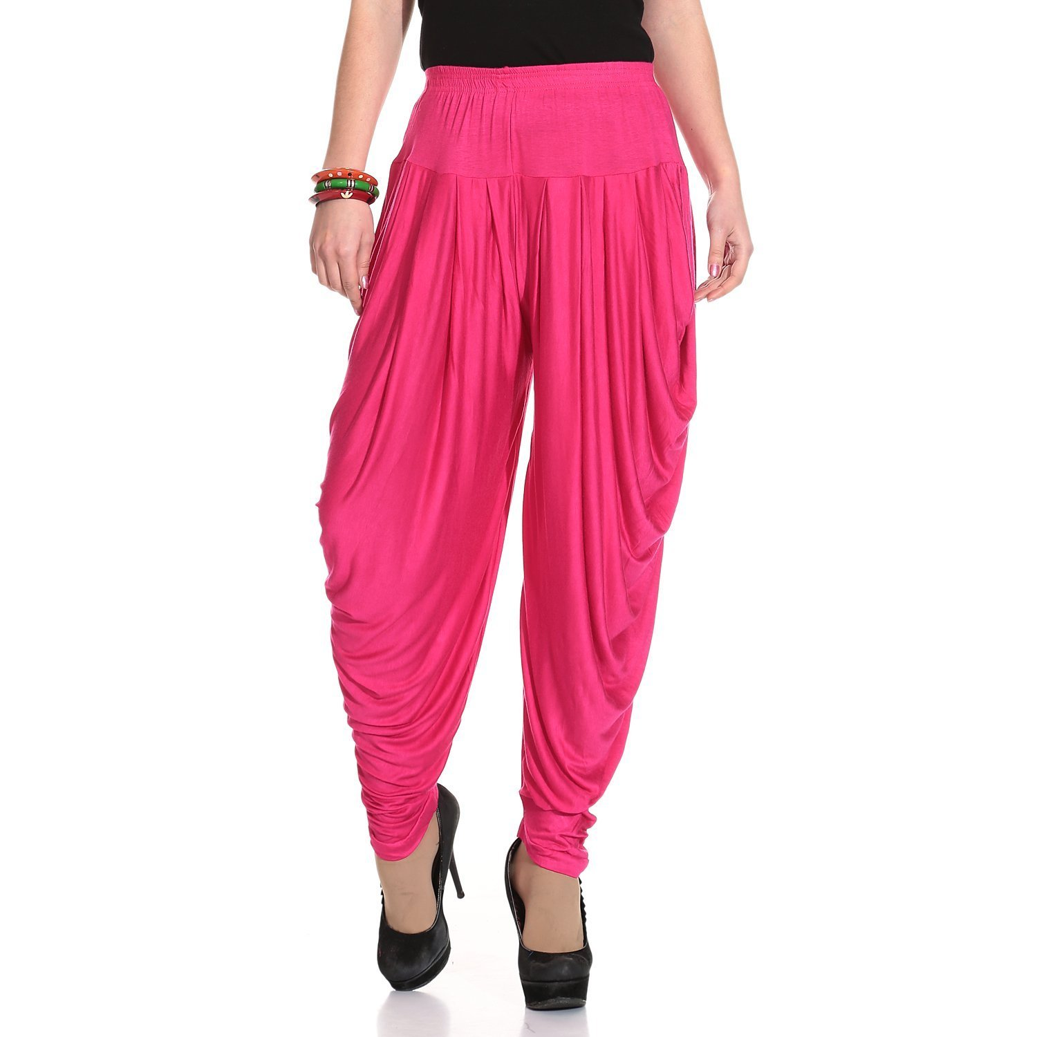 Ardour Dark Pink Relaxed Comfortable Cotton Blend Belly Dance Pants for Women- Free Size
