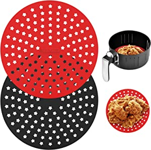Xsourcer Reusable 9 Inch Round Air Fryer Liners,New Star Designed Upgraded Thicker Silicone Air Fryer Mats, Heat Resistant Non-Stick Food Grade Air Fryer Accessories for Cosori, Gowise, Nuwave, Chefman and More, BPA Free (Black & Red 2 Pack)