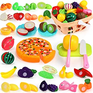 Geyiie Play Food for Kids Kitchen Toys -36PCS Pretend Food Cutting Fruits Vegetables Pizza Playset for Pretend Role-Play, Early Educational Development with Carry Basket,Gift for Boys & Girls