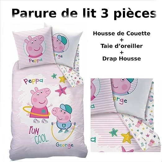 Juego de cama con diseño de Peppa Pig – 100 % algodón – 3 piezas ...