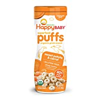 Happy Baby Organic Superfood Puffs Sweet Potato & Carrot, 2.1 Ounce, Pack of 6 (...