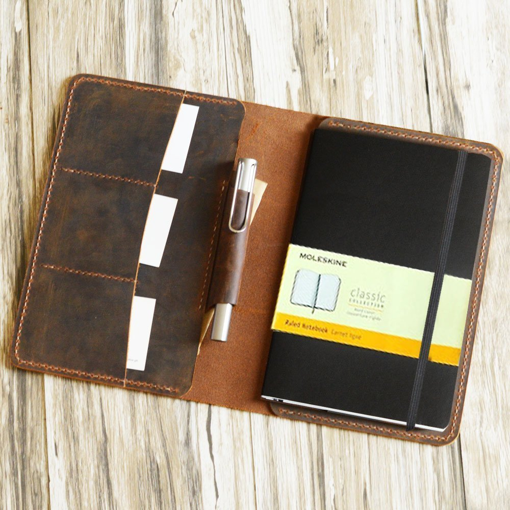Distressed Leather cover for moleskine classic notebook Larger size with pen holder/leather cover case for Large Cahier Volant Journal (5 x 8.25)