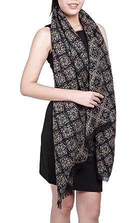 294338010c2 Subke écharpe hiver femme foulard grande taille châle cache-col réversible  franges à fleurs beige