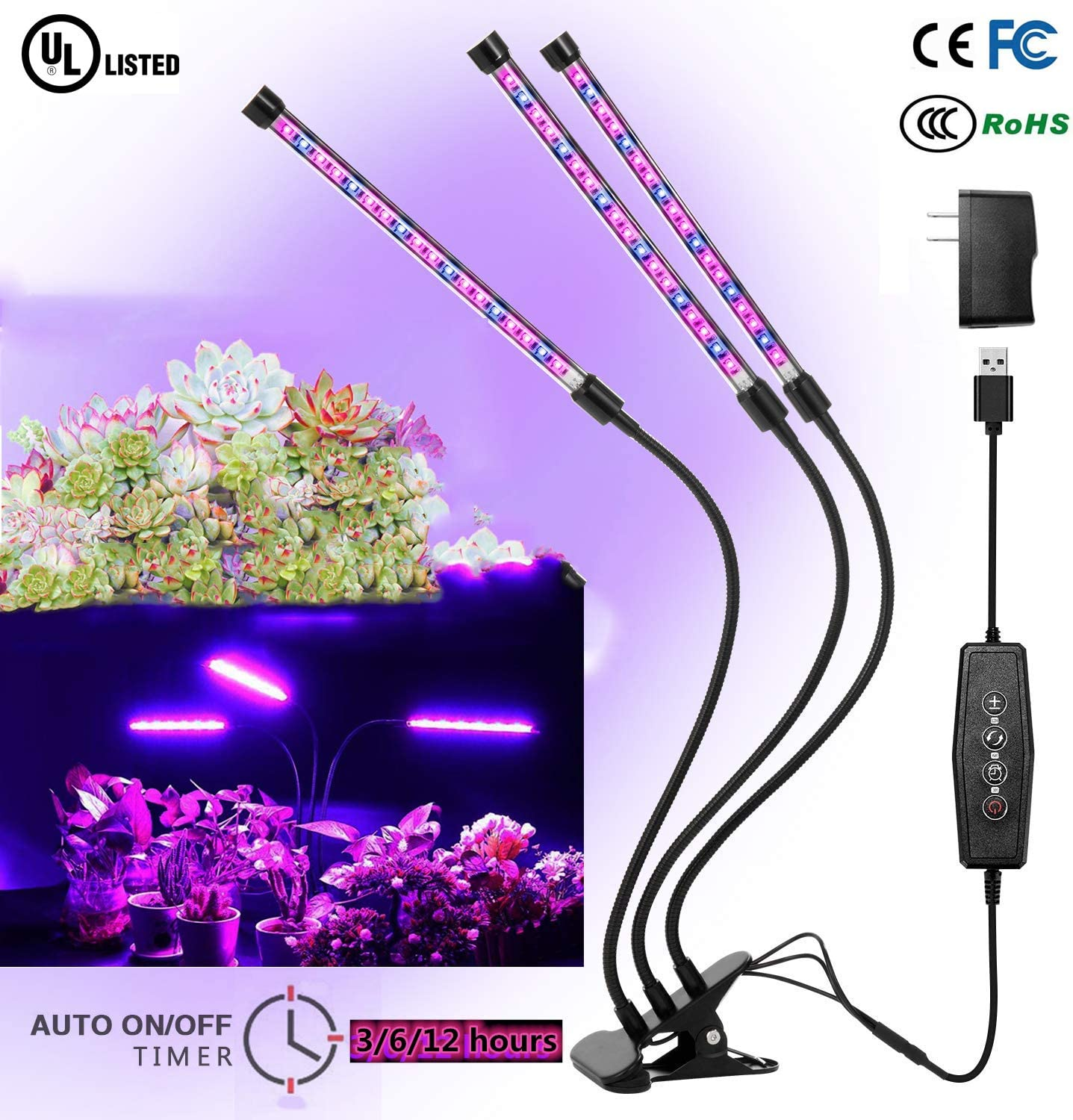 Grow Light, Grow Lights for Indoor Plants, 1000W 1500 LED Bulbs Timming Plant Grow Lamp with Red, Blue Spectrum, 3 6 12H Timer, 50-Head Divide Control Adjustable Gooseneck