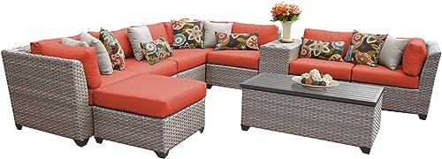 TK Classics FLORENCE-10b-TANGERINE 10 Piece Outdoor Wicker Patio Furniture Set