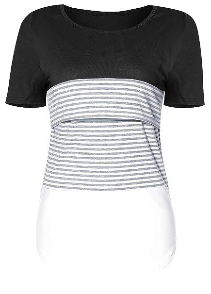869d403decc31 SUNNYBUY Women Short Sleeve Maternity Nursing Tops Cotton Breastfeeding  Shirt Summer Pregnancy Clothes (Black S