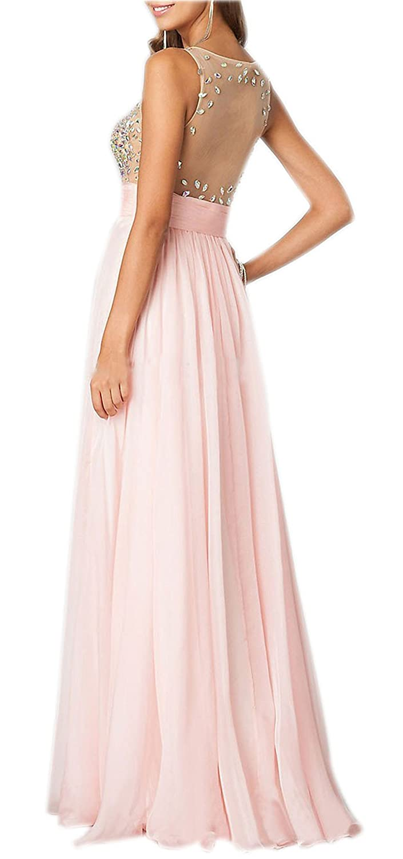 AngelDragon Elegant Illusion Rhinestones Back Evening Gowns Prom Dress