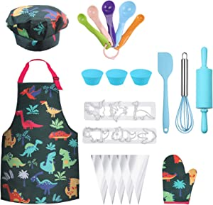 Anpro Complete Kids Cooking and Baking Set - 27 Pcs Includes Aprons for Girls, Chef Hat, Mitt & Utensil to Dress Up Chef Costume Career Role Play for 8-12 Years Boys