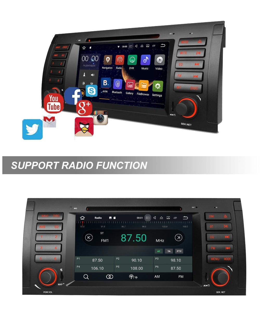 "Amazon.com: MCWAUTO Android 7.1 Car Stereo For BMW E39 E53 M5 X 5 Car Radio  Audio 7"" Quad Core GPS DVD Player Multi-Touch Screen Radio CD DVD Player  GPS ..."