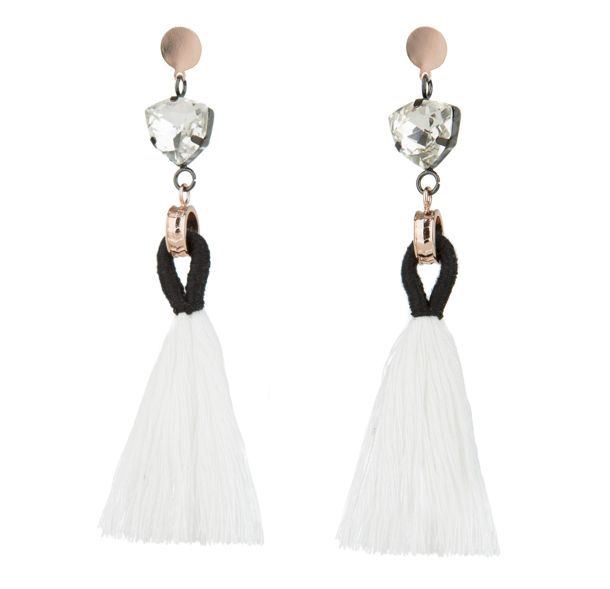 Rose Gold Statement fringe fashion: tassel earrings for women. Aretes de mujer pink drop dangle tassle summer hot earring by Blush & Co. (Angelique White)