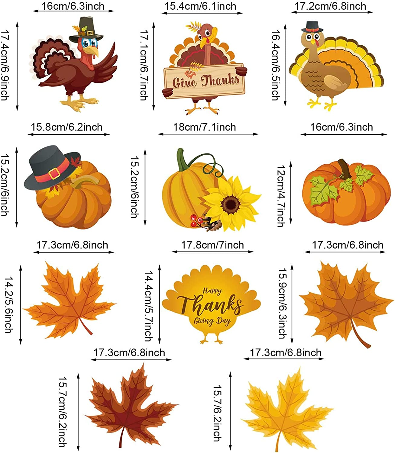 Turkey Pumpkin Chicken Maple Cutouts Hanging Swirls Ceiling Decorations for Autumn Thanksgiving Party Supplies Decorations 30 Count Blulu Thanksgiving Hanging Swirls Decorations