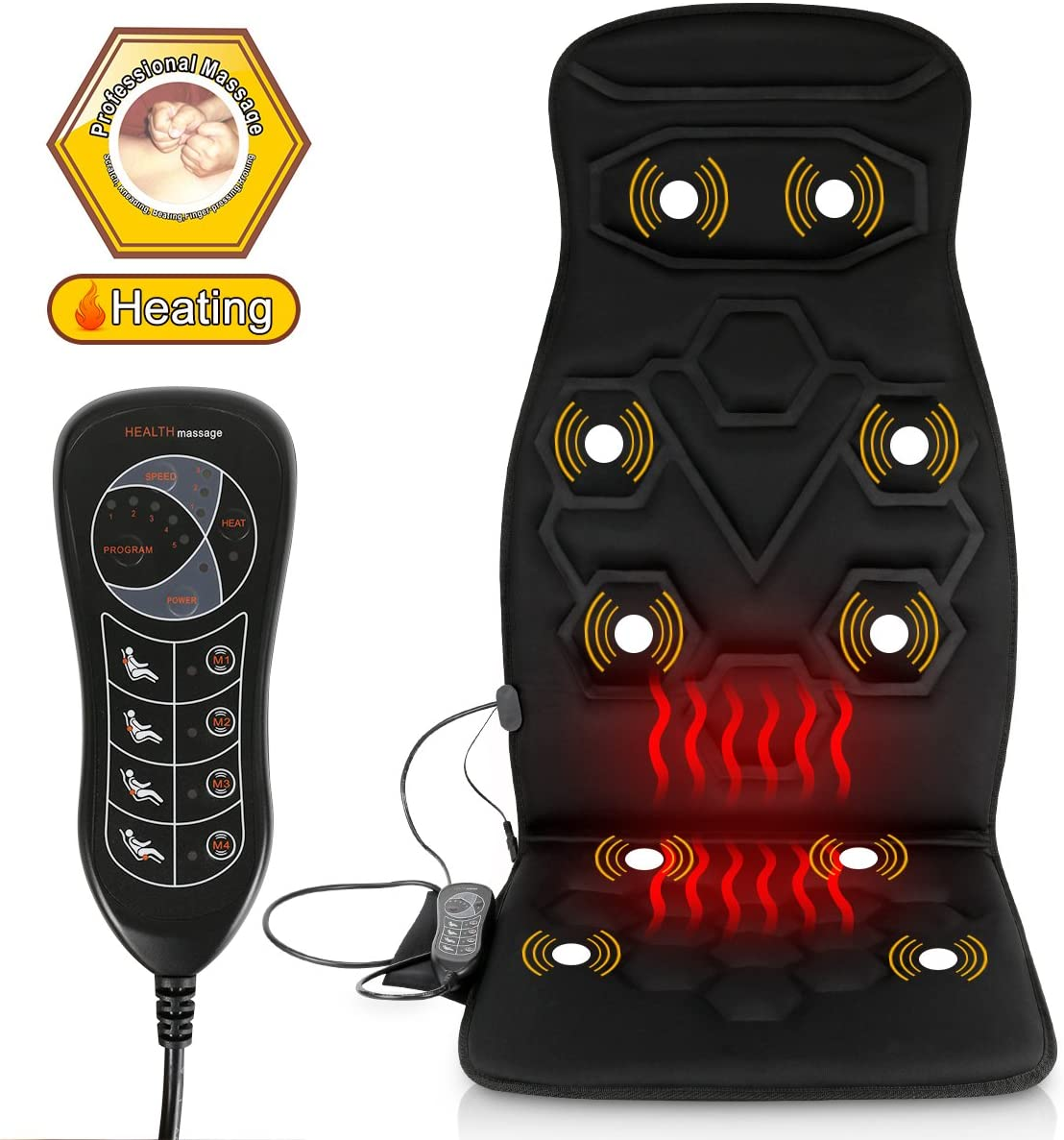 Comfitech Heated Car Seat Back Massager Cushion Chair Pad with 10 Vibrating Motors for Office, Auto and Home Black