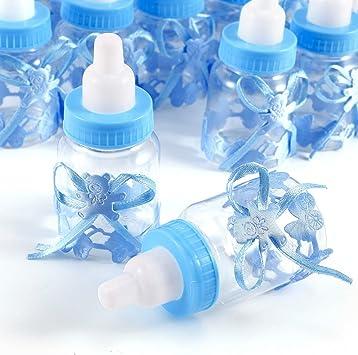 JZK 24 Azul biberones Botella Botellas Caja Caramelos Dulces Porta Caramelos Dulces Confeti Regalo para Nacimiento Bautizo cumpleaños Fiesta Bienvenida Bebe Sagrada comunión bebé niño: Amazon.es: Juguetes y juegos