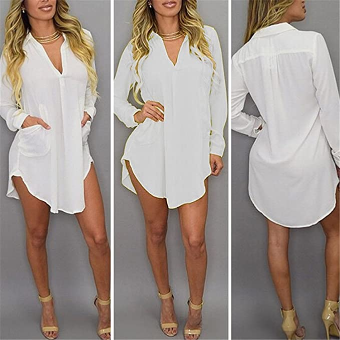 c988de2f002fd Image Unavailable. Image not available for. Color  Leinsparn Women Casual Loose  Long Chiffon Shirts Spring Long Sleeve Collar Sexy Blouses Tops Plus Size