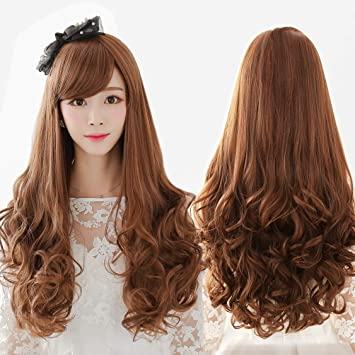 Amazon Com Ladies Brown Long Curly Hair Big Wave