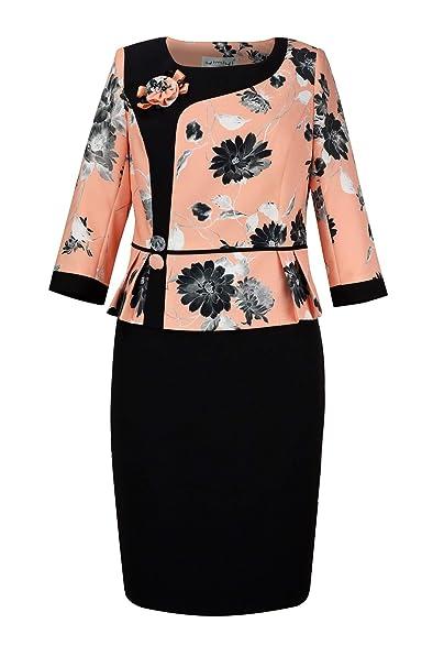 yimiyi Women\'s Three Quarter Sleeve Plus Size Business Clothing Two-Piece  Skirt Sets