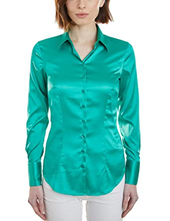 ce08ba8954c4bc HAWES & CURTIS Women's Green Satin Fitted Shirt - Single Cuff:  Amazon.co.uk: Clothing