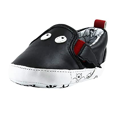 Rosie Pope Black Bat Slip-On Gym Shoes Infant Crib Shoes Baby Boy Shoes (Faux Leather)