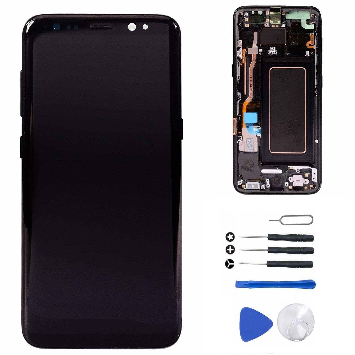 """[S8 Plus Midnight Black with Frame] LCD Display Touch Screen Digitizer Replacement + Tools for Samsung Galaxy S8+ Plus 6.2"""" G955U G955F G955A G955P G955V G955T G955R4"""