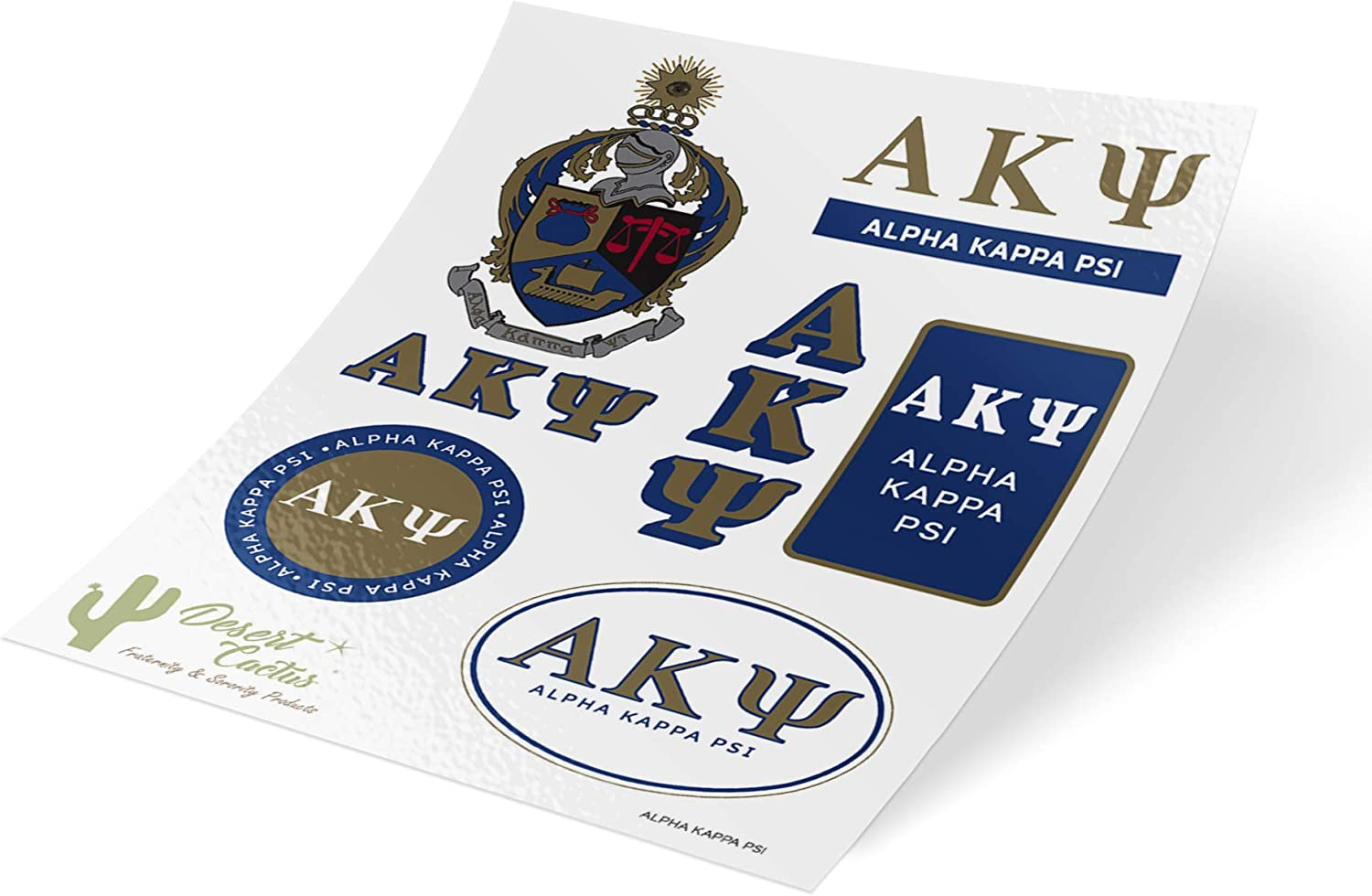 Alpha Kappa Psi Standard Sticker Sheet Decal Laptop Water Bottle Car AKPsi (Full Sheet - Standard)