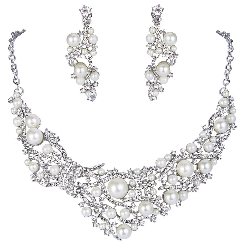 EVER FAITH Silver-Tone Crystal Cream Simulated Pearl Vine Necklace Earrings Set Clear
