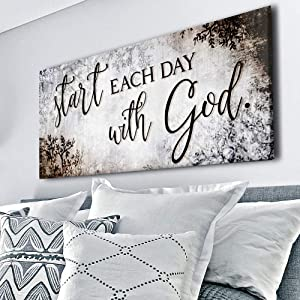Sense of Art |Start Each Day Quote | Wooden Framed Canvas | Ready to Hang Wall Art for Home Decoration (Brown)…