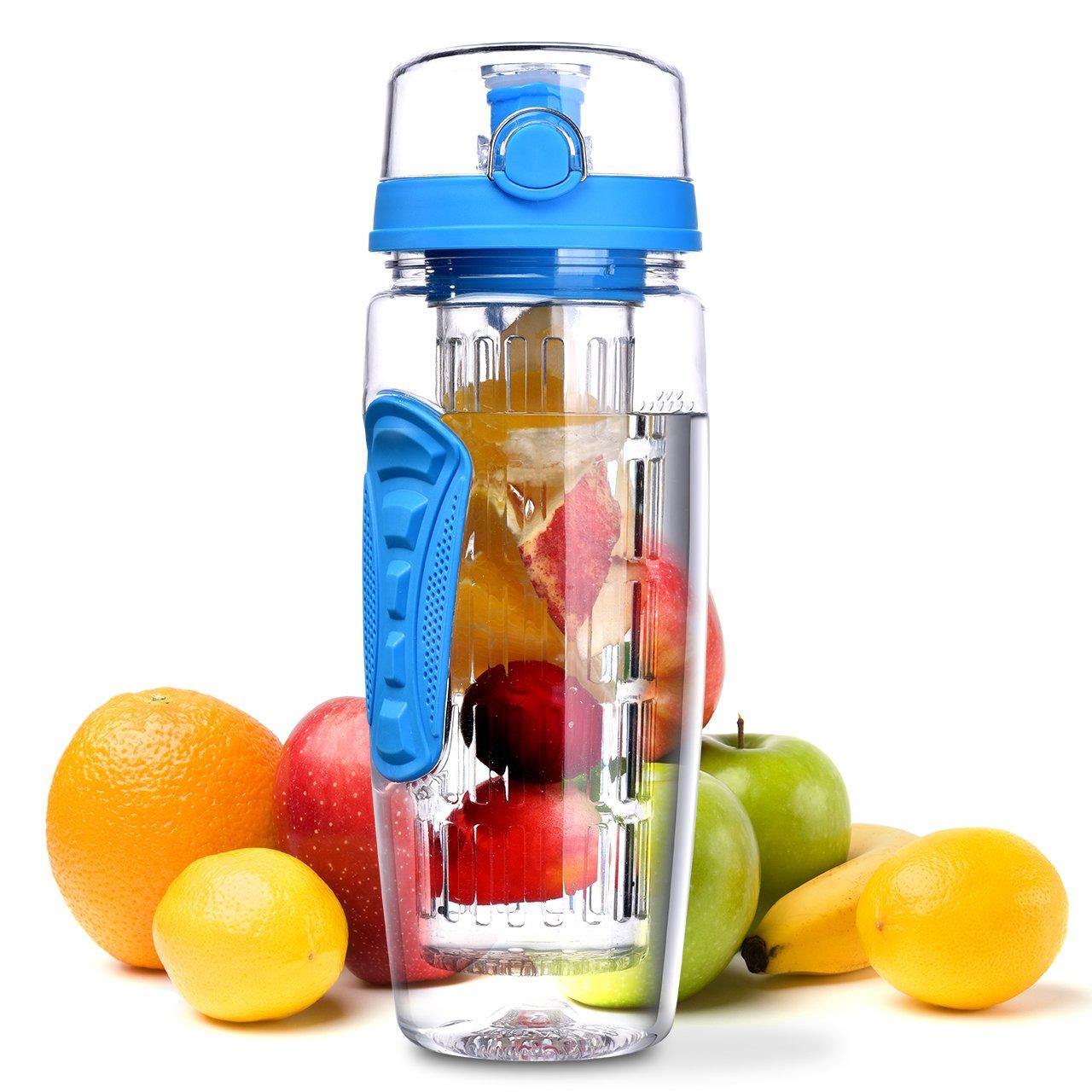 OMORC Wasserflasche, [BPA-Frei Tritan] Kunststoff Trinkflasche Sport Flasche 1L Sportflasche Auslaufsicher, Trinkflaschen mit Verschluss & Tragehenkel für Fruchtschorlen/Gemüseschorlen(Blau)