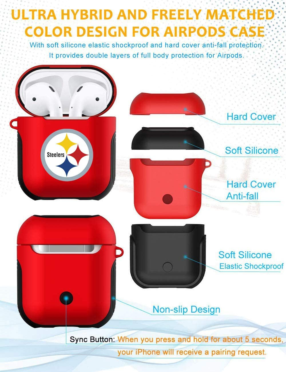 Steelers AirPods Accessories Case Cover Cute Airpods 2 and 1 Silicone Protective Case Dust Guard Shockproof Cover Skin with Carabiner Airpod 1/& 2 Case Shell for Women Girls Pink