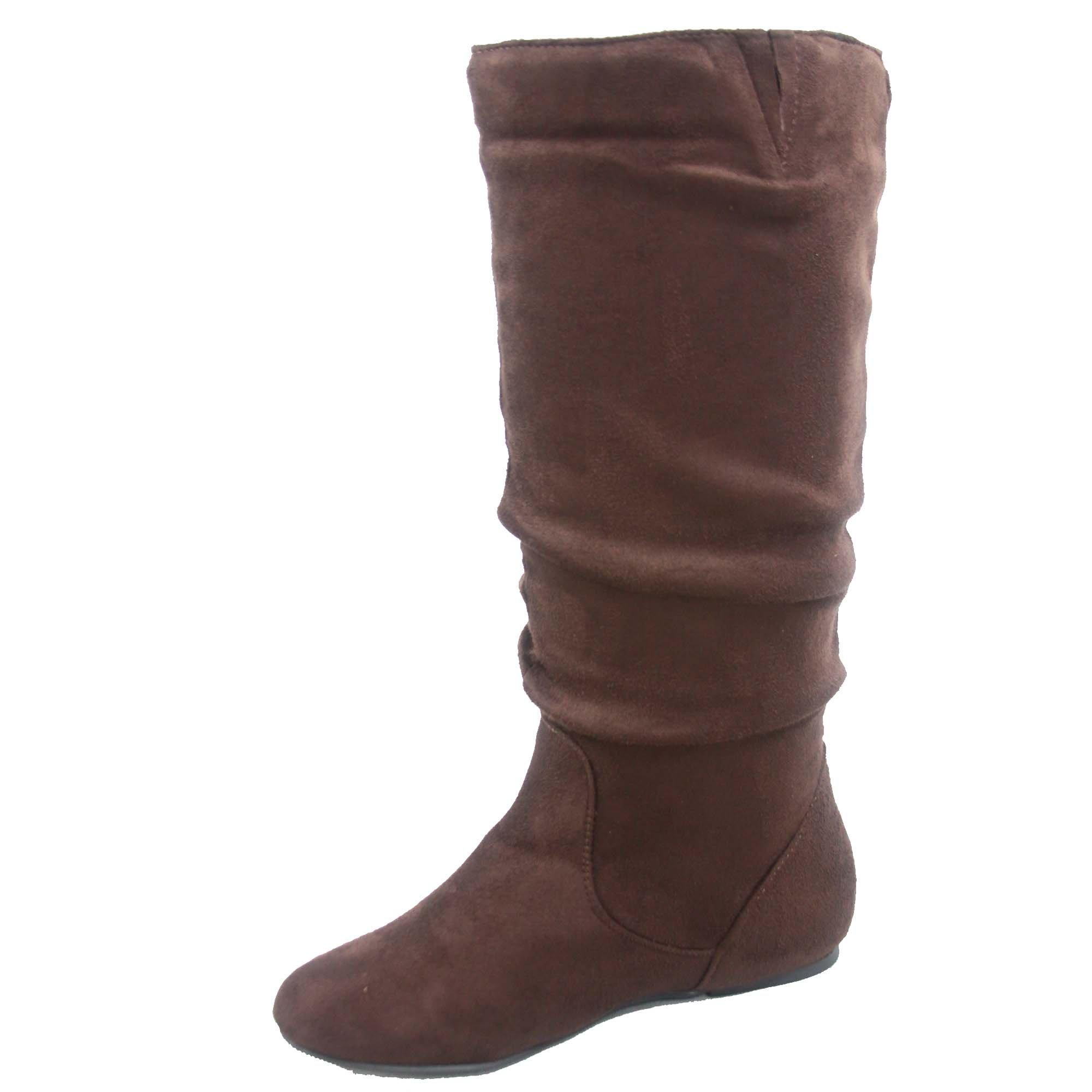 Top Moda Data-1 Women's Shoes Cute & Comfort Round Toe Flat Heel Slouchy Mid Calf Boot (8.5, Brown) by Top Moda (Image #3)