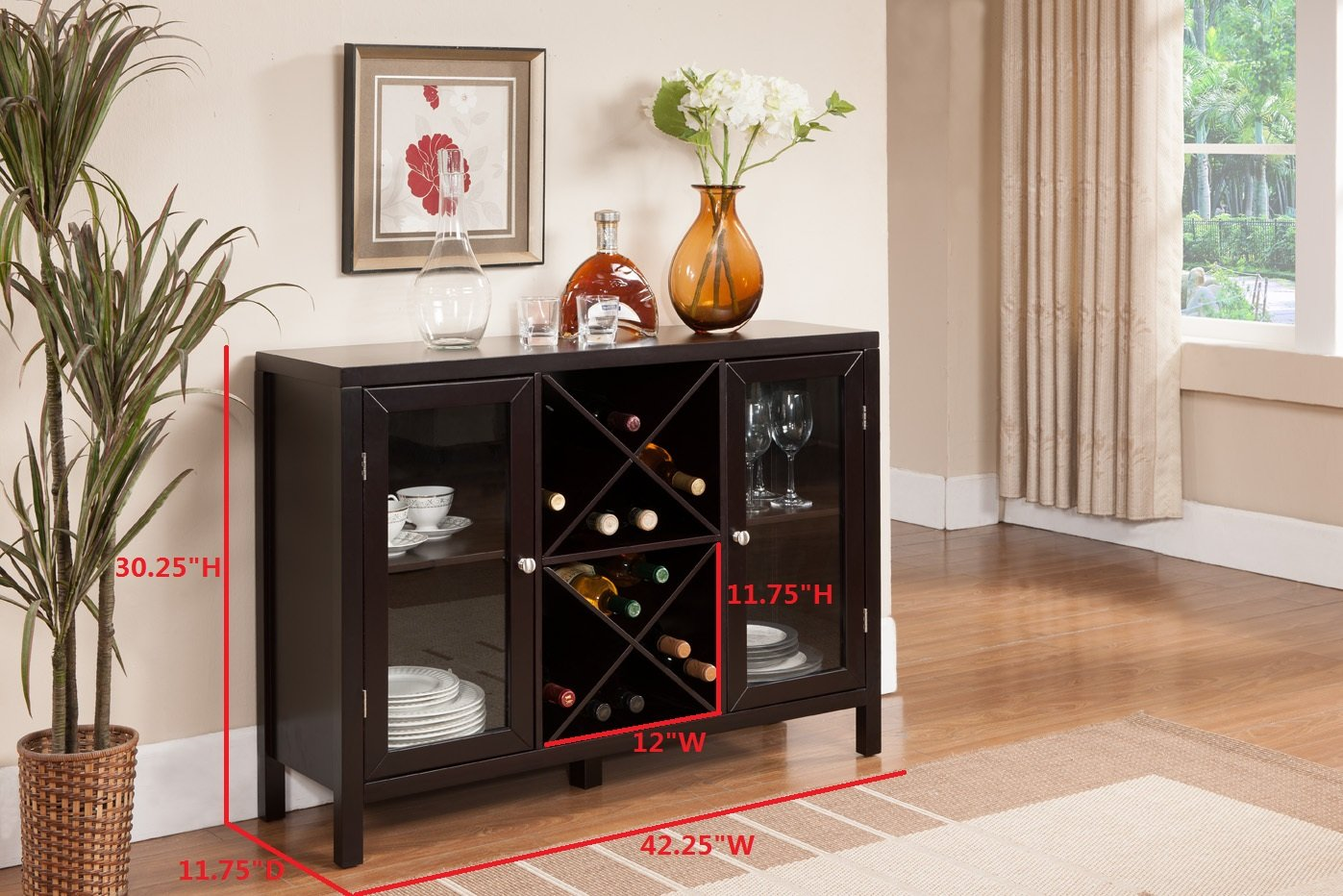 Amazon Com Kings Brand Furniture Wood Wine Rack Console Sideboard