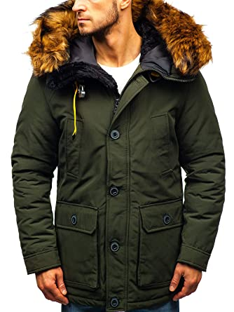 626ab5af25138 BOLF Herren Winterjacke Steppjacke Kapuze Zip Gefütterte Jacke 4D4   Amazon.de  Bekleidung