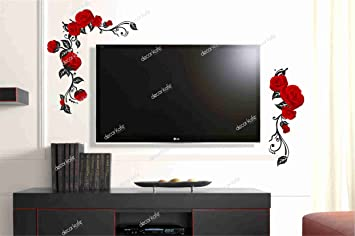 Buy Decor Kafe Red Rose TV Wall Decorative Painting Mural 3D Sticker ...