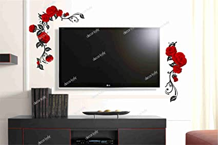 Buy Dreamkraft Red Rose Tv Wall Decorative Painting Mural 3d Sticker