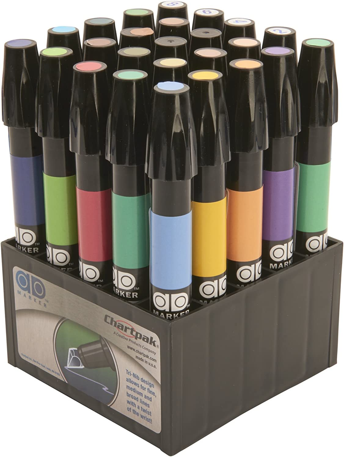The Original Chartpak AD Markers, Tri-Nib, 25 Assorted Art Director Colors in Tabletop Cube, 1 Each (K)