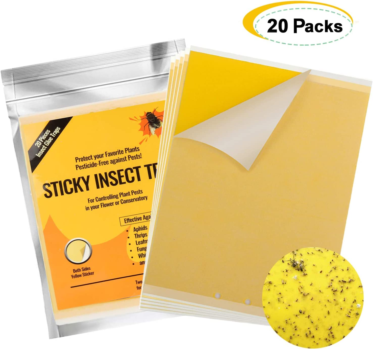 Karvipark 20 Packs Fly Trap, Dual Sided Yellow Sticky Traps, Plant Flycatchers for against Flying Plant Insect, Fungus Gnats, Whiteflies, Aphids, Leafminers