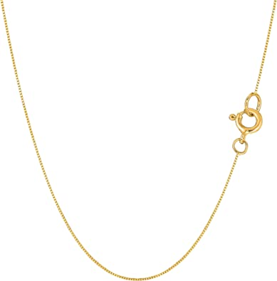 Details about  /2mm 14K Yellow Gold Chain Mirror Chain Necklace Ship from USA Gift box