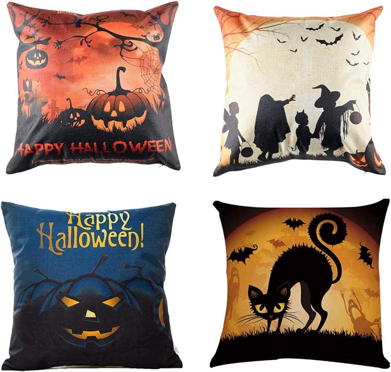 CHICHIC Set of 4 Happy Halloween Pillow Covers Halloween Decorations Bat Pumpkin Cotton Linen Cushion Cover Sofa Couch Burlap Decorative Throw Pillow Cases Pillowslip Home Decor, 18 x 18 inch