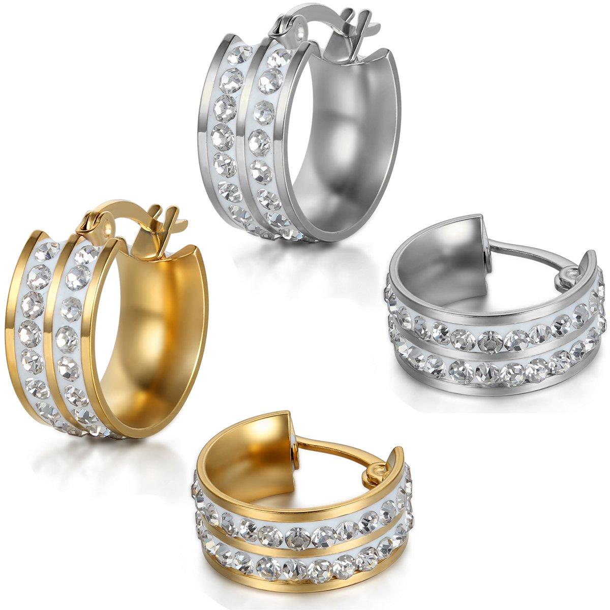 JewelryWe Boucles doreilles Femme Anneaux /à Charni/ère Brillant Faux Diamant Acier Inoxydable Fantaisie Bijoux Couleur Argent Or Avec Sac Cadeau