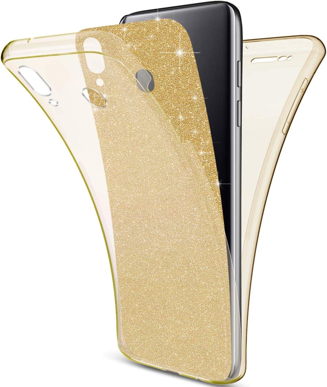 Uposao Kompatibel mit Samsung Galaxy M20 H/ülle 360 Full Body Cover Bling Gl/änzend Glitter H/ülle Rundum Handyh/ülle Doppel-Schutz H/ülle Vorne Hinten Silikon Transparent Schutzh/ülle,Gold