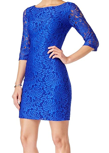 Ivanka Trump Womens Long Sleeve Lace Dress Sea Blue 2