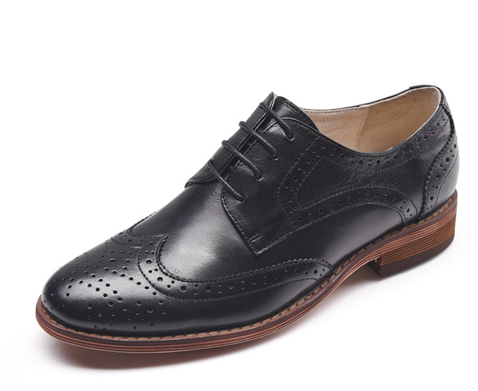 U-lite Women Black Perforated Lace-up Wingtip Leather Flat Oxfords Vintage Oxford Shoes 8.5 blk