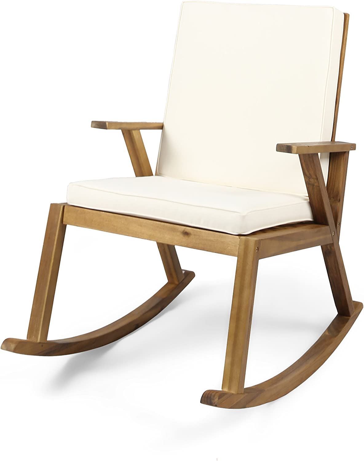 Christopher Knight Home 304650 Brent | Outdoor Acacia Wood Rocking Chair, Teak Finish/Cream Cushion