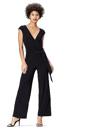 4a5139d812 Jumpsuit Damen mit Wickeldesign und weitem Bein, Schwarz (Black), 34