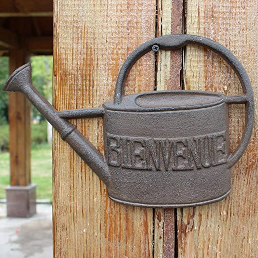 HLQW - Tarjeta de bienvenida de hierro fundido para decoración de jardín, decoración de pared, adornos europeos, jardín, patio, hervidor de agua, decoración de pared: Amazon.es: Hogar