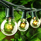 Pansdore Patio Lights G40 25ft Party Globe Vintage String Light Holiday Backyard 25 Clear Bulbs Warm White