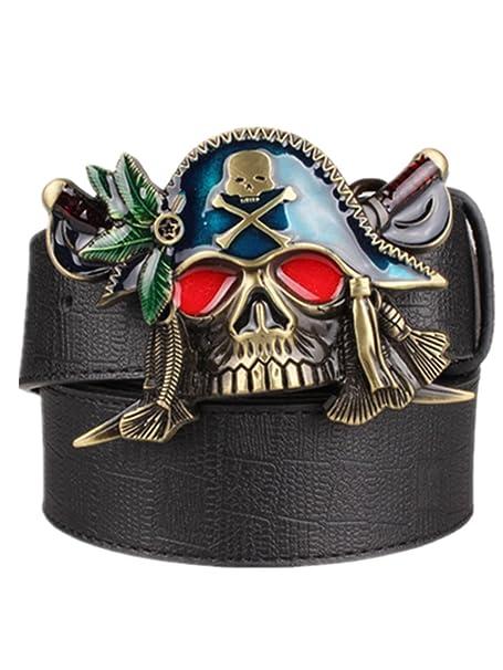 0054f076f7f Moolecole Men s Pirate Skull Big Buckle Belt Fashion Punk Belt Black ...