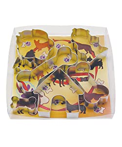 R&M International 1947 Dog Cookie Cutters, House, 2 Fire Hydrants, Paw, 3 Bones, 7-Piece Set