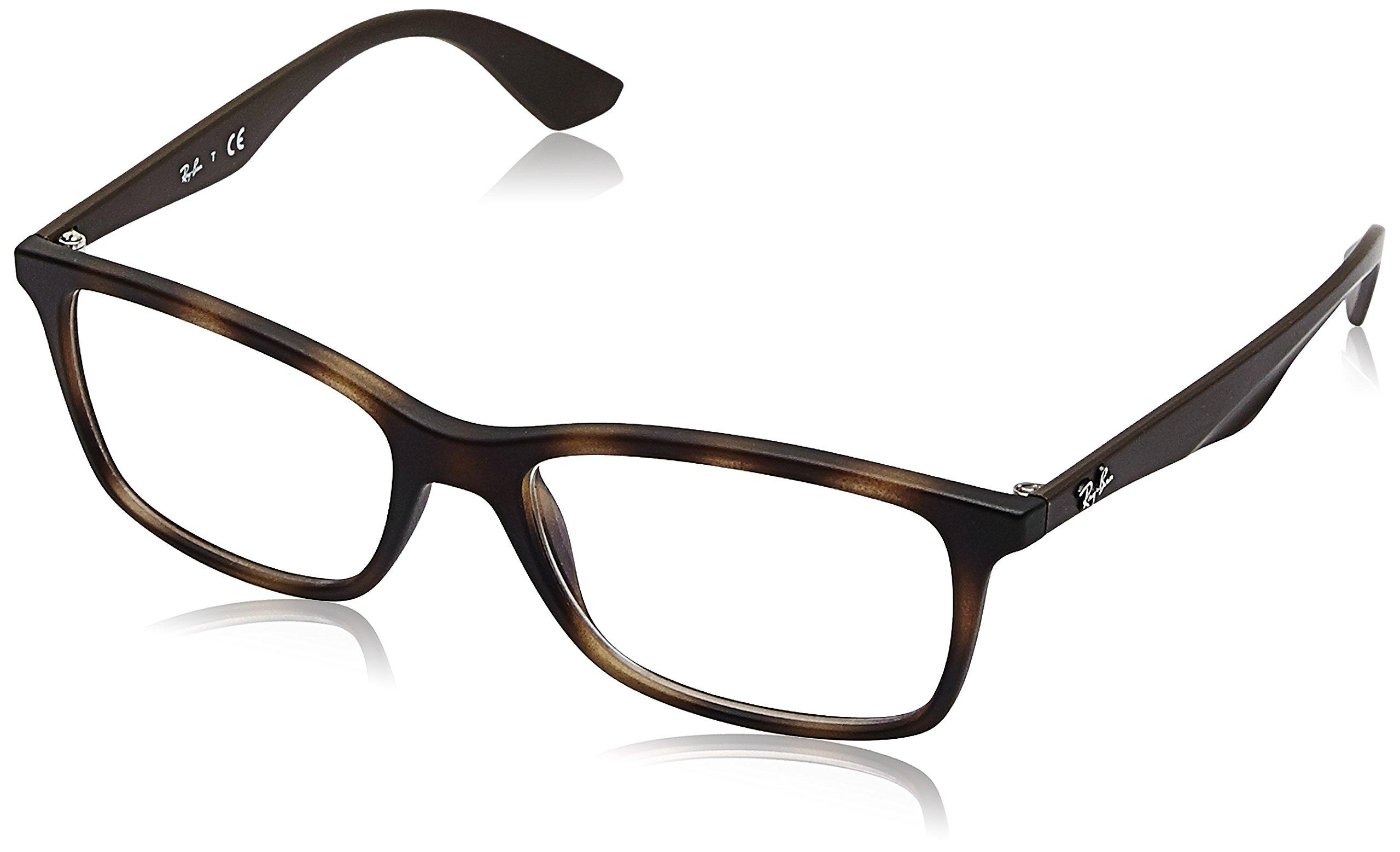 RAY-BAN RX7047 Rectangular Eyeglass Frames, Matte Havana/Demo Lens, 56 mm by Ray-Ban