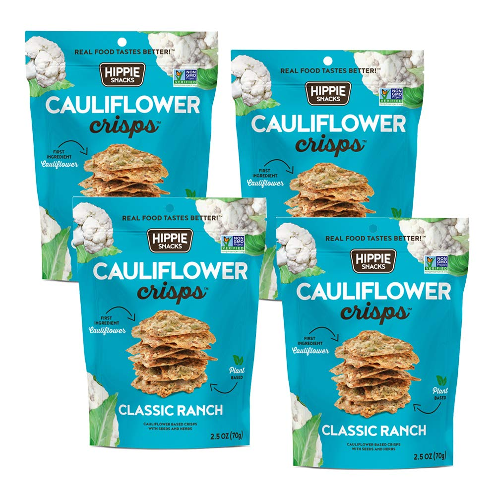 Hippie Snacks Cauliflower Crisps, Classic Ranch, Plant-based, High Protein, Gluten Free Snack or Crackers for Charcuterie Boards, 2.5oz (Pack of 4)